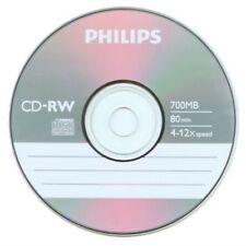 PHILIPS 4-12X Speed CD-RW CDRW ReWritable Blank Disc 700MB 5 DISCS SLEEVED