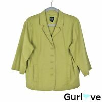 Eileen Fisher Sz L Women's Jacket Green 3/4 Sleeve Organic Cotton Pockets Button