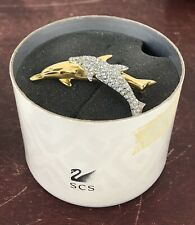 Swarovski SCS Goldtoned Dolphins Brooch / Pin - with Box