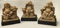 VINTAGE HEAR, SEE, SPEAK NO EVIL BUDDHA STATUES Set of 3 FOO DOG, TURTLE, TIGER