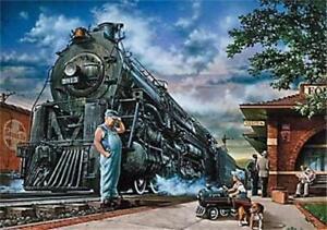 "Dan Hatala Whistle Stop Train Art Print 24"" x 18"""