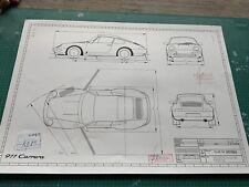 Porsche 993 1993 Konstruktionszeichnung/ Blueprint.