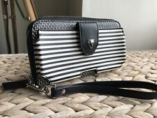 Stella & Dot black & white purse wallet wristlet phone purse VGC