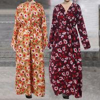 UK Womens Long Sleeve Maxi Floral Dress Abaya Style Baggy Tunic Kaftan Plus Size