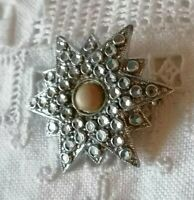 Antique Vintage Star BROOCH HORNER STAYBRITE Deco Faux Marcasite Silver Tone Pin