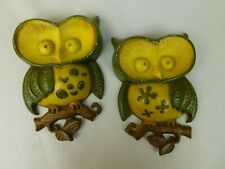 "Sexton Cast Iron Metal 2 Yellow Owls Big Eyes Wall Art 9"" Long 1970's Vintage"