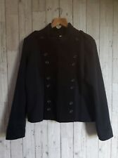 TOAST jacket military style cotton wool mix twill 14 double breasted navy black