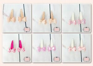 Set of 2 Hair Bow Glitter Snap Clips Girls Hair Accessories