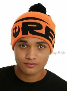 New Star Wars Rebel Alliance Logo Embroidered Knit Fold Over Pom Beanie Hat