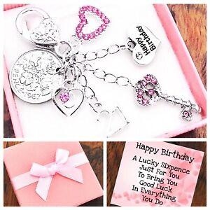 16th 18th 21st BIRTHDAY LUCKY SIXPENCE, Pink Key, Box & Card 30th 40th 50th 60th