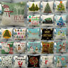 Cojines Christmas Tree Ball Cushion Cover Woven Linen Family Snowman Pillow Case