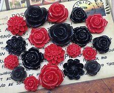 20pcs - Resin Flower Cabochons - Black/Red