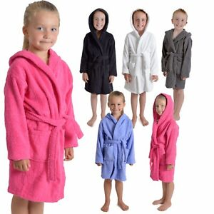 Kids Childrens 100% Cotton Bathrobe Terry Towelling Hooded Bath Robe Gown 7 - 13