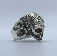 Designer 925 Stamped Sterling Silver Mens Vampire Gothic Skull Ring Biker Punk