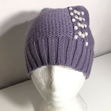 *Badgley Mischka Embellished Pearls Fishtail Cable Knit Beanie Purple