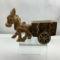 Vintage Donkey Horse Pulling Cart Planter Browns & Yellow - Unknown Maker