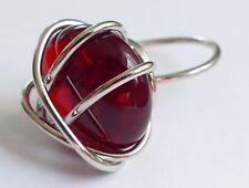 Ring Drahtring bernsteinfarbiger Edelstein versilbert Vintage 80er ring