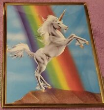 Framed Unicorn Wall Picture Rainbow White Sky Blue Gold Cork