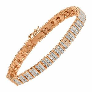 """Square Link Tennis Bracelet with Diamonds in 14K Plated Brass, 7.25"""""""