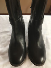 M&S Ladies Black Leather Zipped Flat Ankle Boots, size 4 1/2