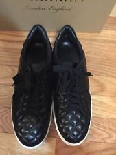 New BURBERRY London Westford Quilt Black Leather Sneaker Size 39.5 B/ 9.5