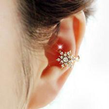 Crystal Rhinestone Snowflake Clip on earrings Non Piercing Ear Cuff Jewelry