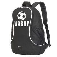 Childrens Personalised Football Bag Black Backpack Boys School PE Kit Name