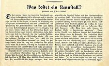 Was kostet ein Rennstall Plauderei von F. von Wedel Pferde Textdokument von 1905