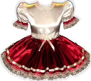 """""""Dolores"""" CUSTOM Fit Maroon & Ivory Lace Adult Little Girl Sissy Dress LEANNE"""