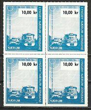Denmark - Blok of 4 Lyngby - Maerum Jernbane 10,00 kr. Railroad, Trains