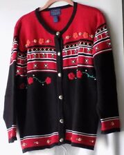 Willow Ridge Red & Black Ramie/Cotton Embroidered Cardigan - Misses Sz LP-NWOT