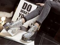 Women's Shiny Platform Wedge Heels Round Toe Lace Up casual party ankle boots