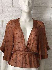 Sportsgirl Brand Rust Silk Chiffon Beaded Kaftan Top Size XS