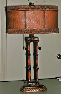 """MCM Regency Hollywood Bamboo Pole Rattan Gallery Shade Table Banquet Lamp 26x16"""""""