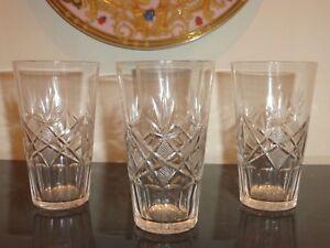 "4 Cut Glass Crystal Tumblers 4 3/4"" High"