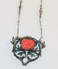 ANTIQUE CORAL MOLDED GLASS PENDANT W/ FANCY LINK CHAINS SILVERTONE NECKLACE
