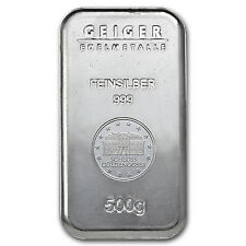 500 Gram Silver Geiger Security Line Bar - SKU #74693