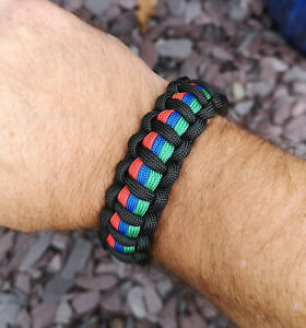 Thin Red Blue Green Line Combined Supporters handmade Paracord Bracelet