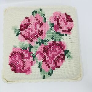 "Vintage Crochet Flower Pillow 15"" Square Scalloped Edge Floral Cross Stitch OOAK"