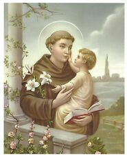 "Catholic Print ST. ANTHONY of Padue w/ Child Jesus 8x10"" ready to frame"