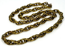 ANTIQUE VICTORIAN FANCY LINK EMBOSSED GILDED BRASS HEAVY CHAIN NECKLACE