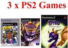 PS2 3 X Game Bundle Crash Tag Team Racing SPYRO ENTER THE DRAGON + Nuit éternelle