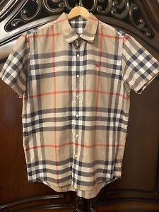 Mens Burberry London Beige Nova Check Short Sleeve Shirt Size Small