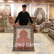 YILONG 2.7x4' Hand-knotted Silk Classic Carpet Vintage Indoor Area Rug H016A
