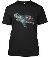 Sea Turtle With American Flag Hanes Tagless Tee T-Shirt