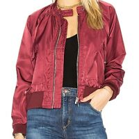 Free People | Womens Size M Wine Midnight Bomber Satin Full Zip Jacket