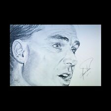More details for shane warne signed framed original pencil portrait - cricket legend australia