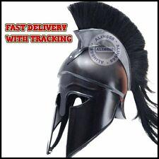 Medieval Ancient Costume Armour Roman Greek Corinthian Helmet w/ Black Plume