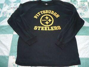 Boys size XL 18-20 Black Long Sleeve Reebok Pittsburg Steelers Knit Jersey
