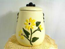 VINTAGE AMERICAN BISQUE COOKIE JAR & LID YELLOW DAISY FLOWER KITCHEN